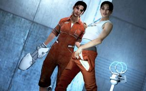 Chell2 and Portal Zoey by Rastifan