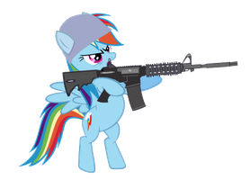 Rainbow dash with a gun by camike1234