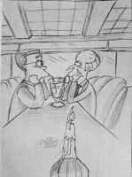 Mr Burns and Smithers in a cafe by AlBrolz