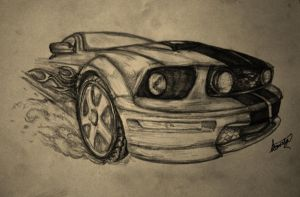 MUSTANG - First car drawing attempt by BrumbyHorseWarrior95