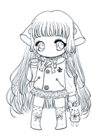 Chibi Chii - lineart by tho-be
