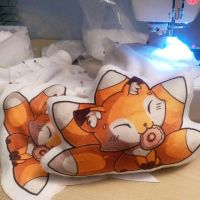 Fox Pillows WIP by BeeZee-Art