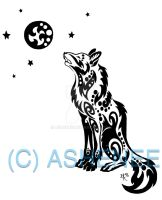 ::sitting howling wolf:: by Ashenee