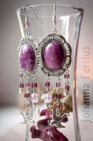 Cute Fairy Plum Epidosite Earrings Aurora by Johanna-Ferrius