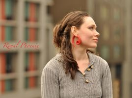 Red fake gauged ear tapers with black Onyx by AnastasiyaPhoenix