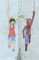 Spiderman: Meet Monkey D Luffy by stopthinkmove
