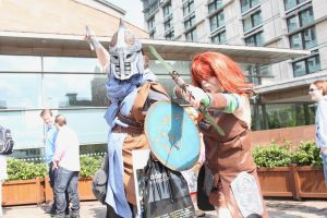 skyrim Guard and Aela the huntress 2 - MCM Expo by x-Montsegur-x