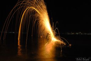 Steel Wool Spinning in the Sea by RikOsSora