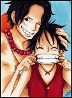 ace and luffy one piece by KawaiiiPandaMuffiiin