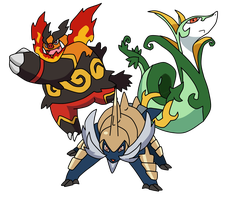 Trio Unova's Final evolution of starters by Victinit