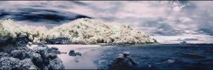 Koh Larn Beach Pano 2 Infrared by MichiLauke