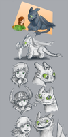 Hiccup and Toothless Age wrap Sketches. by TaffyDesu
