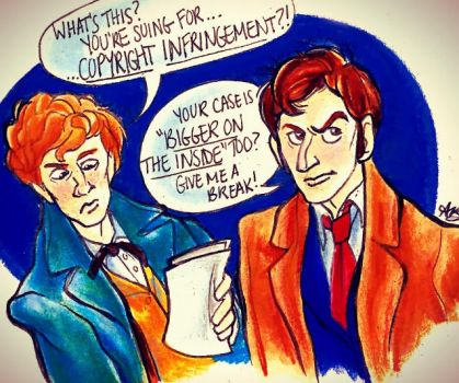 Newt Scamander and the Tenth Doctor by AlexandraBowmanArt