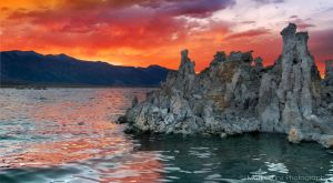 Fiery Sunset over Mono Lake by MattGranzPhotography