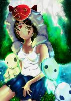 Princess Mononoke and The Kodama's by TheBookofGenesis