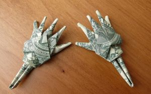 Dollar Bill Origami Skelton Hands by craigfoldsfives