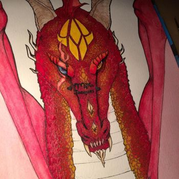 flaming red ruby dragon by mika525
