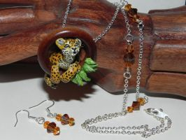 Leopard Hanging from Wooden Hoop, Wild Cat, Hand S by Secretvixen
