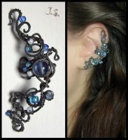 Blue patina ear cuff by JSjewelry