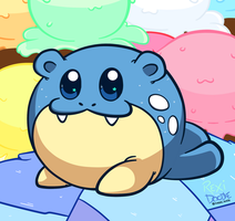 Spheal loves ice cream by RexiDoodle