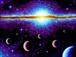 Planets and galaxy by CORinAZONe