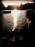 Silhouette by the lake by Annas-Day-Dreams
