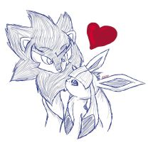 Luxray X Glaceon by li-Fae