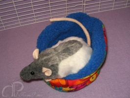 Blue-Grey Half-Hooded Rat Plushie by Morumoto