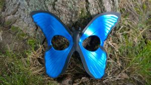 Blue Morpho Butterfly Leather Mask by A-S-Thompson