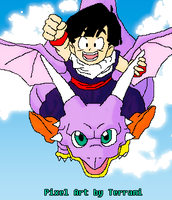 Gohan and his dragon -pixel- by Terrami