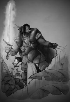 Half Orc, Cleric of Ehlonna - black and white by Mirthol