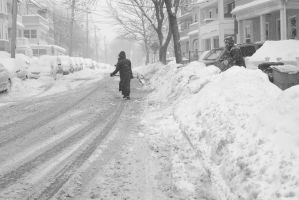 2015 February Snow Storm, Clearing A Spot by Miss-Tbones