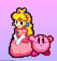 Peach and Kirby by FaisalAden