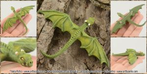 Realistic Leafy Green Dragon Hatchling Brooch by Chaotica-I