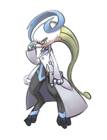 Newtwo dressed as Colress by MellowMeloetta