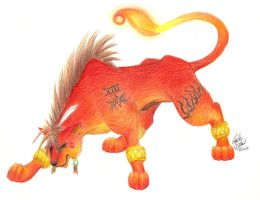 Red XIII- 2008 Color Pencil by stormwhisper02