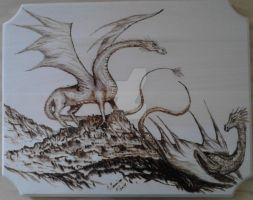 Dragons (pyrography) by ChristinasWerkstatt