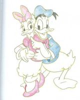 Sketch - Donald + Daisy by happineff