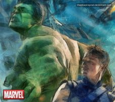 Marvel - The Avengers - Hulk - Hawkeye by thephoenixprod