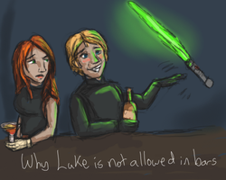 Why Luke is not allowed in bars by firedanceryote