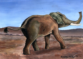 Elephant departing by grim1978