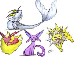 Eevee evolutions first 4... by BibianaX
