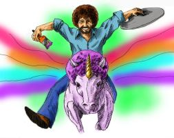 Bob Ross Unicorn coloured by SeeknDestroy