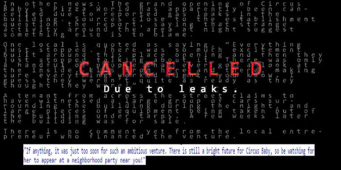 Cancelled due to leaks! (on scottgames.com) by TheGoldenKeyblade