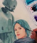 Jyn Erso and K-2so WIP by Trunnec
