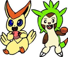 Victini and Chespin by tanlisette