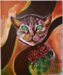 Cat among roses by JuliaStrand