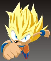 Sonic Super Saiyan by o0Vegeta0o