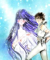 Athena and pegasus seiya by zelldinchit
