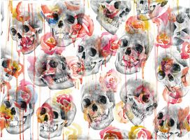 Skulls and flowers. by PaulAlexanderThornto